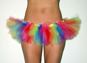 Rainbow micro mini skirt tutu rave playa dance wear