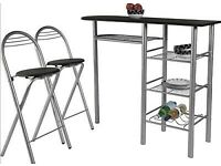 Leon Wood Effect Bar Table & 2 Stools - Black