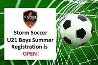 Storm Soccer U21 Boys Registration OPEN!