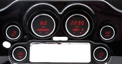 04-11 Harley Touring Red Digital Speedometer Tachometer Gauges Gauge Kit 48066