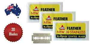 FEATHER DOUBLE EDGE RAZOR BLADES JAPANESE HI-STAINLESS,PACK OF 30 - AUS SELLER