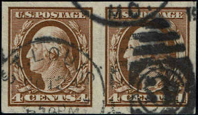 #346 HORIZONTAL PAIR 1909 4c IMPERF ISSUE USED--VF