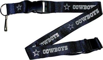 Dallas Cowboys Football Team NFL Blue Lanyard Key Ring Keychain w/ Safety Clip