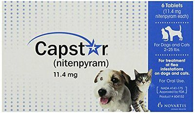 NEW Capstar Flea Treatment Dog Blue 2 25 lbs 6 tablets FREE SHIPPING