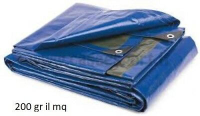 TARPAULIN TARP EYELETS WATERPROOF COATING BLUE/GREY HEAVY 200 MULTIPURPOSE GR