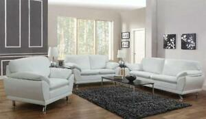 Superior White Leather Living Room Set