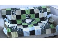 HOMEMADE PATCHWORK THROW - PIXELLATED CAMOUFLAGE £20 Green, Black, Grey - Ideal Christmas Present