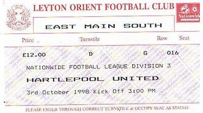 Ticket - Leyton Orient v Hartlepool United 03.10.98