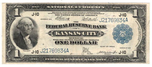 1918 $1 The Federal Reserve Bank of Kansas City, Missouri. VF.  Y00006783