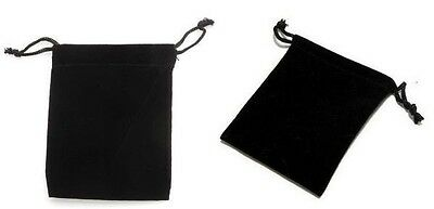 50 Small Black Gift Jewelry Drawstring Bags 2-12 X 3 Flocked Velveteen Pouch