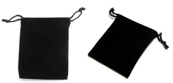 """200 Small BLACK GIFT Jewelry Drawstring Bags 2-1/2"""" x 3"""" Flocked Velveteen Pouch"""