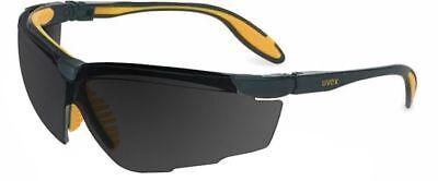 Uvex Genesis X2 Safety Glasses Black/Yellow Frame Dark Gray XTR Anti-Fog Lens