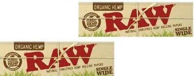 2 Packs Raw Organic Hemp Single Wide Rolling Papers  50 Lvs USA -