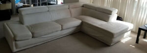 L-Shaped White Sectional Couch