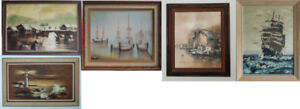ART OIL PAINTING. YACHTS, SHIPS, BOATS. SEASCAPES.