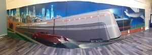 Huge Art Deco airbrushed mural of 1930's transportation icons