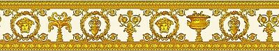 Versace Medusa Head Wallpaper Border Designer Luxury Textured White Yellow Gold