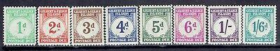 Gilbert & Ellice, Scott #J1-J8, Postage Dues, MH