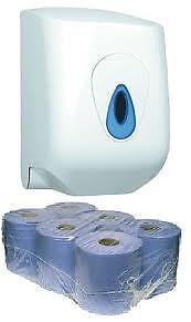 6 Blue Centre Feed Paper Towel Rolls & A Dispenser