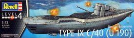 Revell Plastic Model Kit 1/72 German Submarine Type IXC/40 (U190