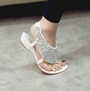 Lady White Crystal Bling Rhinestones Flat Sandals Flip ...
