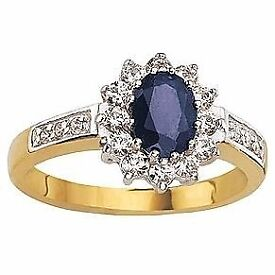 9ct Gold Sapphire & Cubic Zirconia Ring and stud earrings