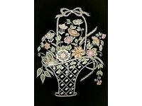 FLORAL BASKET EMBROIDERY ARTWORK FRAMED