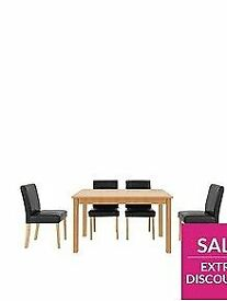 Primo 120 cm Dining Table + 4 Faux Leather Chairs (New)