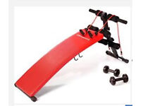 (RRP £95)Ultrasport adjustable sit up bench with dumbbells and elastic straps