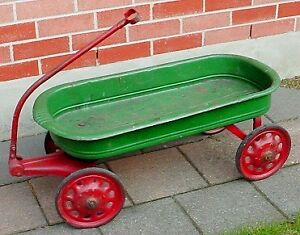 Antique 1930s 40s childs large toy Steel wagon London Ontario image 3