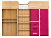 Kidspace Ohio Mid-Sleeper Bed with Desk, Drawers, Wardrobe,PINK H 150, W 95.2, D 194 cm *FRAME ONLY*