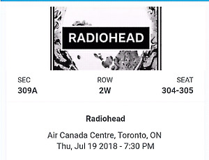 Radiohead Ticket - Scotiabank Theater