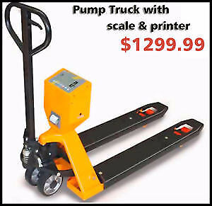 pallet jack, pallet jack with scale, printer, pump truck, hand t