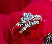 14 kt Yellow and white gold engagement ring set - Marquise cut