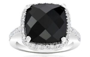 NEW 18K White Gold Plated 4.00CTW Diamond Accent Black Onyx Ring