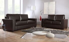 Brown leather 2 and 3 seater suite couch sofas