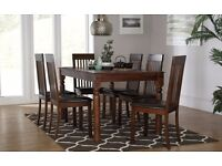 Indian Sheesham Dining Table (150cm) + 6 Oxford Chairs