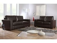 LAST FEW SETS LEATHER SOFA SET 3+2 AS IN PIC BROWN BRAND NEW