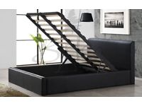🔵⚫BLACK BROWN AND WHITE COLORS🔵⚫ NEW DOUBLE 4FT6 LEATHER STORAGE BED WITH WIDE RANGE OF MATTRESSES