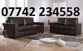 3+2 brown leather seater settee
