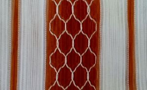 Vintage RETRO Curtains EMBROIDERED Rust BROWN RED