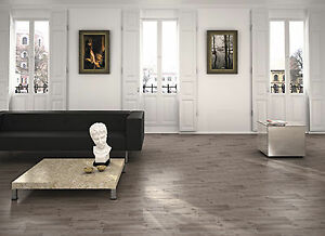 "6""x24"" Wood Look Glazed Porcelain Tile - Grey/Beige"