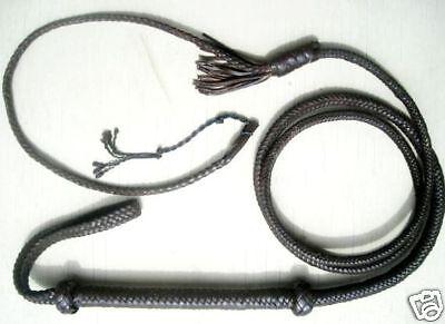 12 ft long 12 Plait BLACK TARGET New Zorro Real Leather Bullwhip Whip whips