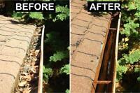Gutter and eaves troughs lawn cleaning.