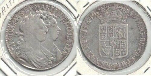 1689 Great Britain William & Mary Silver Half Crown, 1st Reverse -- Very Fine ~