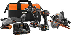 Ridgid R9628 18V Limited Edition Gen5X Brushless 4.0Ah 4 Tool Combo Kit !!!!