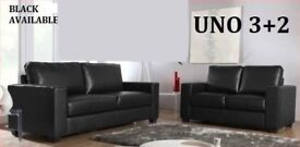 BRAND NEW 3+2 LEATHER SOFA BLACK OR CHOCOLATE BROWN + DELIVERY