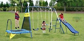 Brand new 3 in 1 trampoline , swing and glider play set
