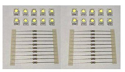 20 WARM WHITE SUPERFLUX LEDS FOR LIGHTING S SCALE STRUCTURES