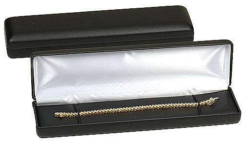 "Black Faux Leather Bracelet Display Watch Jewelry Gift Box 8"" x 2"" x 1 1/8""H"